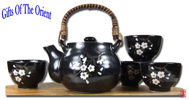 Japanese black plum blossom tea set 4cup