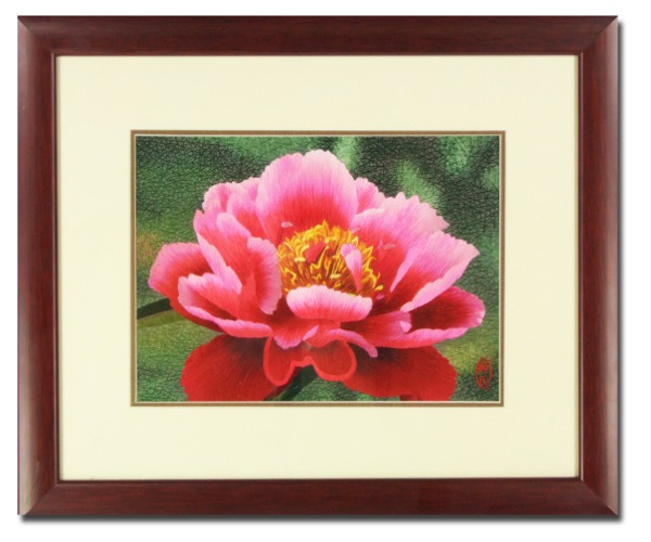 Silk Embroidery picture  Pink Peony blossom by Chinese Master Craftswoman of the Gu family