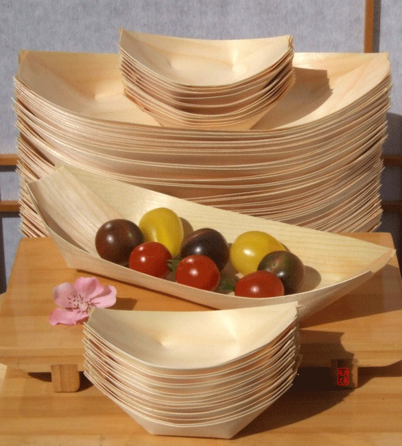 Bamboo Wood Boats large & standard for party foods, snacks, nibbles, canapé 50 plus 100