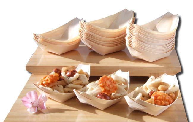 Bamboo Wood Boats x200 for party foods, snacks, nibbles, canapé 115X75mm - GOTO