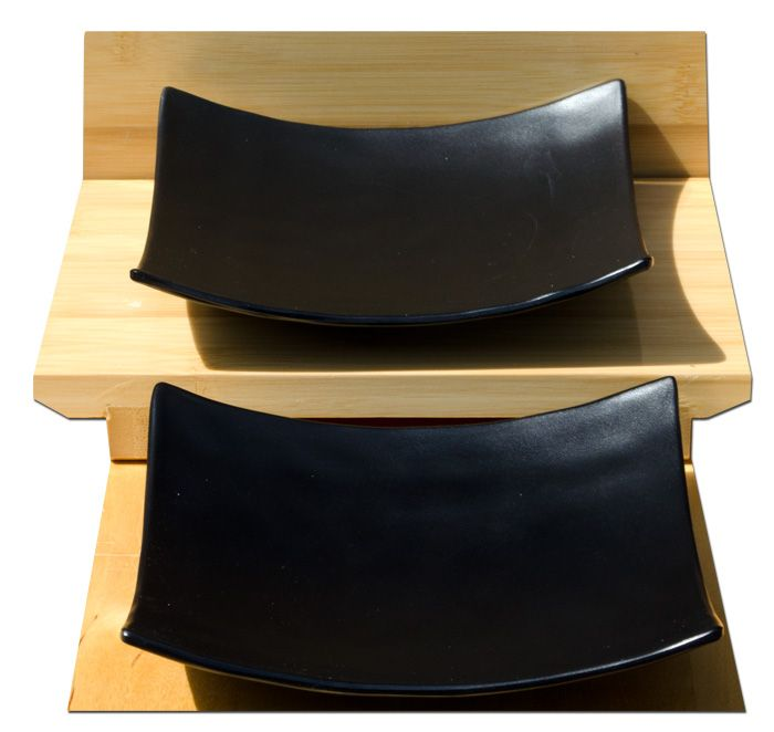Black Contemporary serving plates square melamine for 2 – Melamine plastic