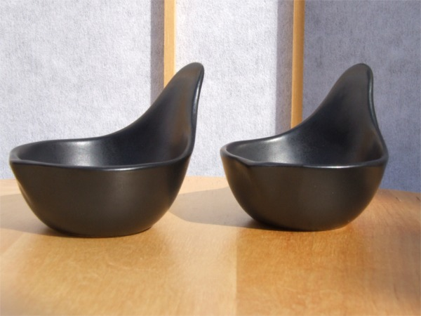 Black sauce & condiment dishes set of 2