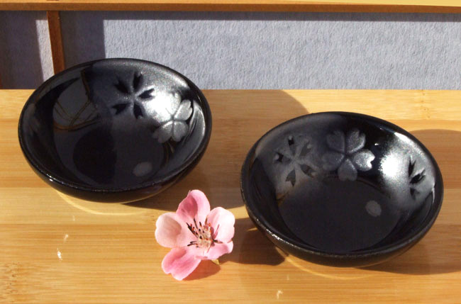 Canapé sauce sushi condiment dishes black silver cherry blossom set of 2