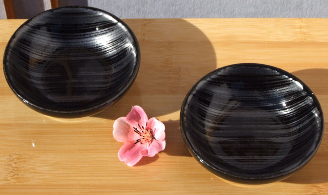 Canapé sauce sushi condiment dishes black silver stripe design set of 2