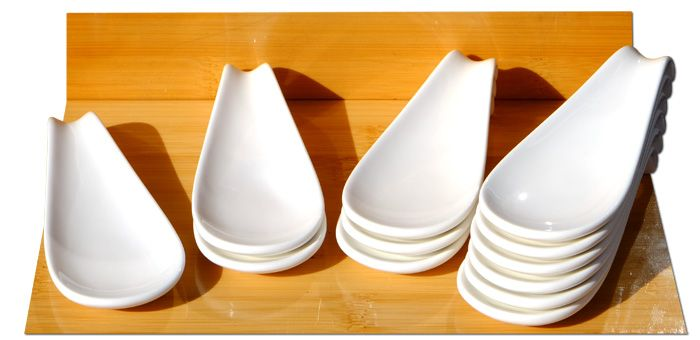 Canape ceramic display spoon white 4.7x12cm x 12