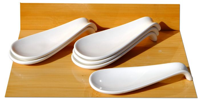 Canape ceramic display spoon white 4.7x12cm x 6