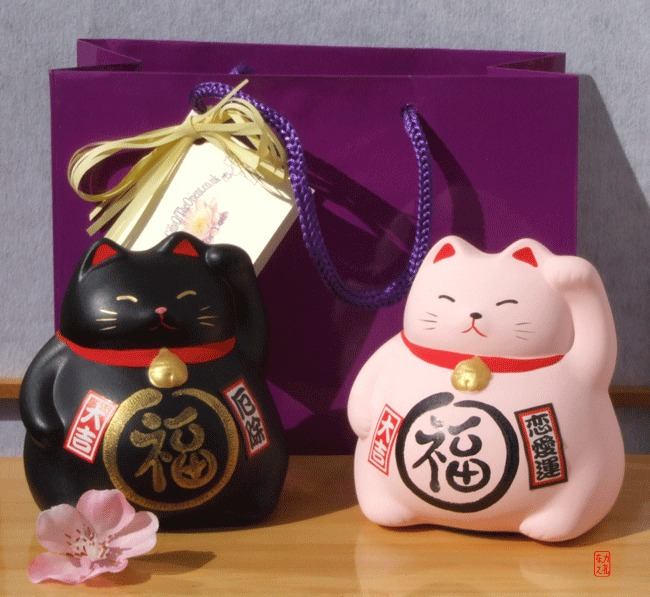 Gift Bag - 2 Maneki Neko Feng Shui Lucky medium cats for black for protection pink for love