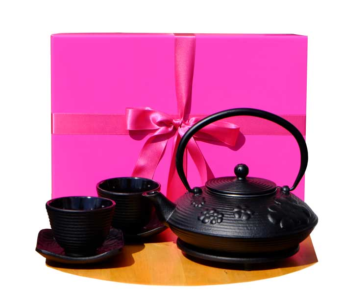 Gift Box F - Cast Iron Black Flower Teapot round trivet Zen Ripple cups SQ X2