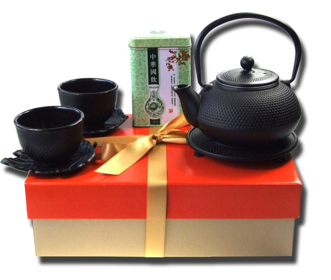 Gift set cast iron Tetsubin black hobnail tea pot 0.6L Jasmine tea Trivet X2 Cups & Leaf coasters