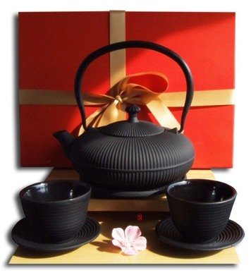 Gifts Box – Cups Trivet & Tetsubin Cast Iron Zen Mountain black teapot kettle 0.8 litre Japanese sty