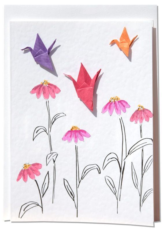 Handmade Greetings card –  Colourful Origami Cranes Amongst Pink Cone Flowers