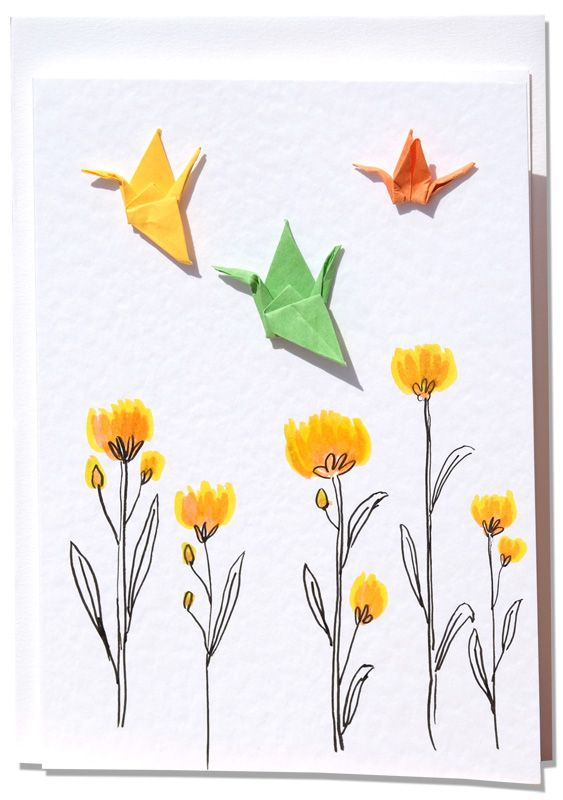 Handmade Greetings Card – Origami Cranes above yellow Flowers on a summers day