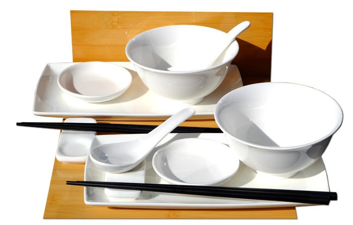 Japanese white sushi set with bowls and spoons for two
