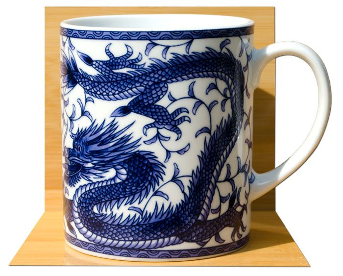 Lucky Japanese Blue Dragon Feng Shui Mug