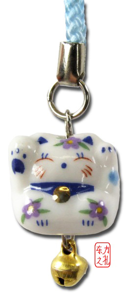 Mobile phone and bag charm Maneki Neko Lucky sweet Cat blue