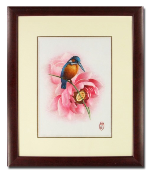 Silk Embroidery picture – Kingfisher & Lotus blossom by Chinese Master Craftswoman of the Gu family
