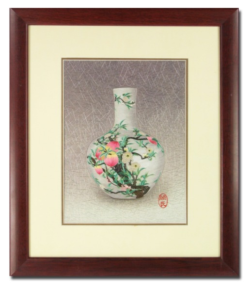 Silk Embroidery picture – Peach Blossom Vase by Chinese Master Craftswoman of the Gu family