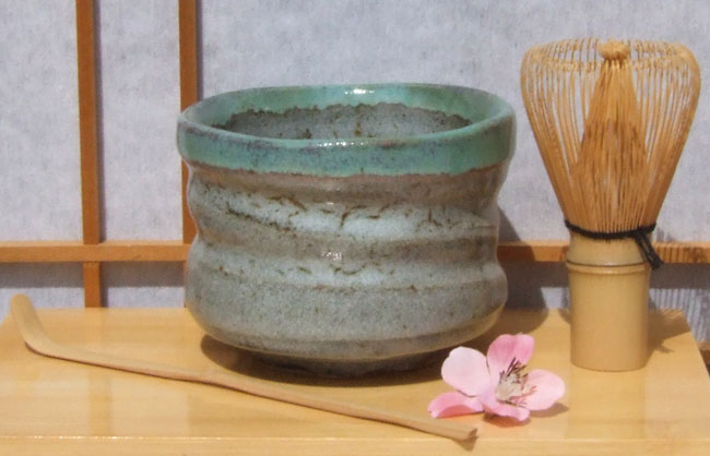 Tea Ceremony Bowl set Japanese with rustic stone and green glaze 11cm