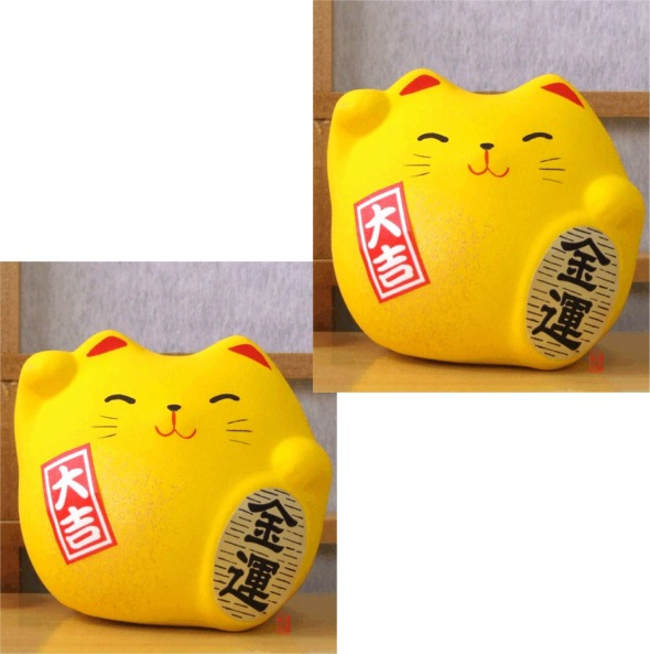 Two Maneki Neko Feng Shui Lucky yellow cats for good fortune in finance