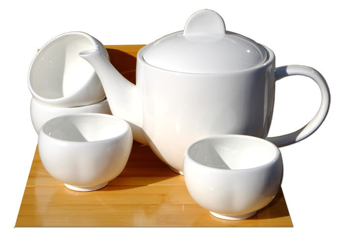 White ceramic 0.7L teapot set 4 plum blossom cups