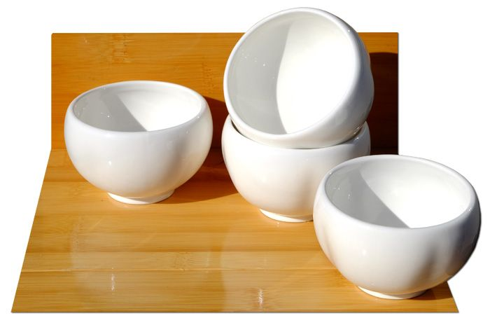 White ceramic plum blossom cups x 4