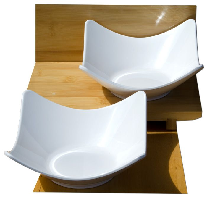 White medium contemporary square 16cm bowls melamine x2 – Melamine plastic