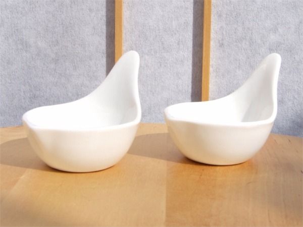 White sauce & condiment dishes set of 2